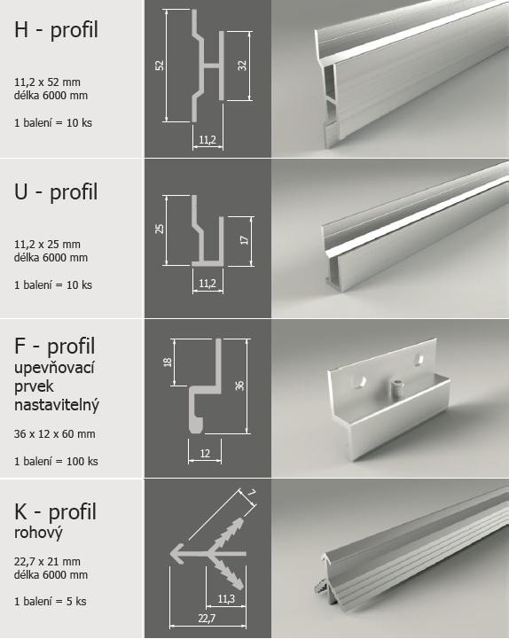 Hliníkové upevňovací profily